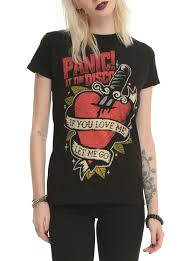 panic at the disco tattoo heart girls t shirt topic