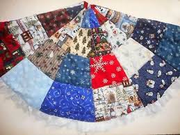 Christmas Tree Skirt Quilted Handmade Patchwork Eyelet Trimmed Reversible