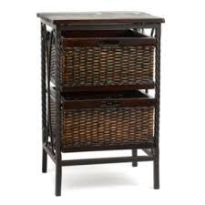 espresso wicker basket accent table kirklands