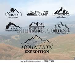 Set Of Summer Mountain Explorer Camp Badge Logo And Label Templates Travel Hiking