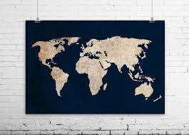 New To BySamantha On Etsy Inverted World Map Art Print Rustic