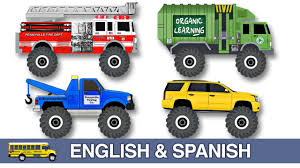 100 Tow Truck In Spanish Learning Monster Street Vehicles Names Sounds In English Bilingual Colors Video For Kids