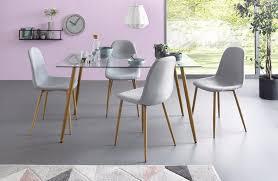 my home essgruppe miller set 5 tlg eckiger glastisch mit 4 stühlen webstoff kaufen otto