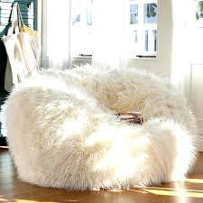 Giant Fluffy Bean Bag Big Chair Adorable White Fur For Teen Girl