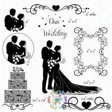 Elegant Wedding Silhouette Clipart Bride Groom Cake