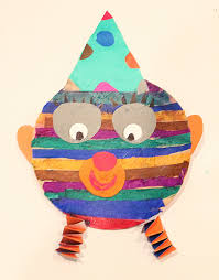 Tissue Paper Collage Clown With Stripes