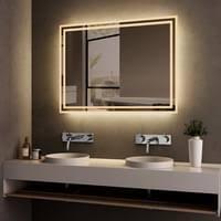 meykoers badspiegel lichtspiegel 50 x 70 cm led spiegel wandspiegel mit beleuchtung warmweissen lichtspiegel ip44 energiesparend
