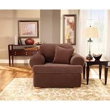 Stretch Slipcovers For Sleeper Sofas by Sure Fit Stretch Pique T Cushion Three Piece Sofa Slipcover