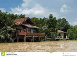 100 River Side House Side Thai S With With Palm Farm Stock Image