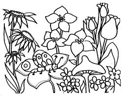 Butterfly In Beautiful Garden Coloring Pages