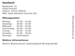ᐅ öffnungszeiten dassbach niedeckstr 42 in krefeld