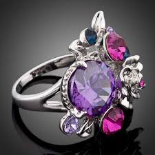 siege swarovski rings flower multicolor swarovski element ring
