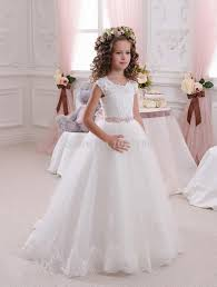 pretty scoop ivory white lace flower girls dresses 2016 ball gown