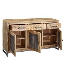 wohnling sideboard 145 x 83 x 45 cm mango massivholz metall vintage anrichte kommode 3 schubladen und türen hoher kommodenschrank holz massiv