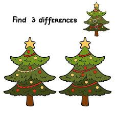 Find 3 Differences Christmas Tree Stock Vector