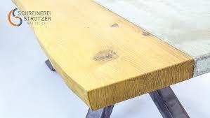 esszimmertisch aus holz und beton schreinerei strotzer