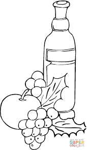 Click The Grape And Wine Coloring Pages