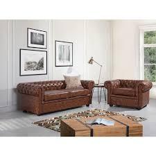 sofa hellbraun kunstleder 3 sitzer chesterfield stil ös wohnzimmer