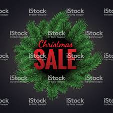 Merry Christmas Sale Discount Vector Illustration With Green Fir Tree Branches Frame Royalty Free