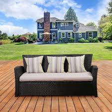 Braxton Culler Furniture Replacement Cushions by Hampton Bay Park Meadows Brown Wicker Outdoor Sofa With Beige