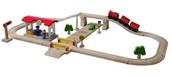 plan toys plancity deluxe road and rail set blueberry forest toys
