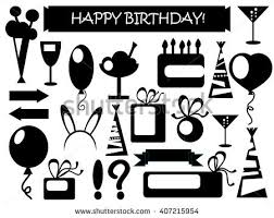 Birthday icons black and white vector illustrations set of isolated elements on white background