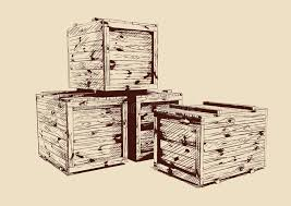 Download Vintage Wooden Crates Drawn Stock Vector
