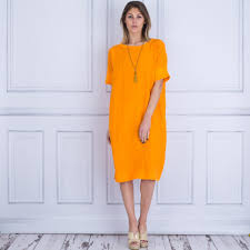 100 Oska Sale 60180110013 Alona T Shirt And Linen Round Neck Loose Dress