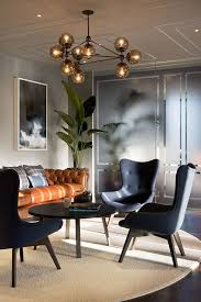 Living Room Modern Black Grays Chandlier Glass Leather Greenery