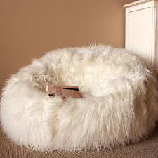 Image Is Loading Large Cream SHAGGY FUR BEAN BAG Cover Cloud
