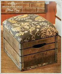 DIY Vintage Milk Crate Turned Into Unique Ottoman Tutorial Could Use The Plain Wooden Crates Found At A Craft Store Plus Thick Or Heavyweight Fabric