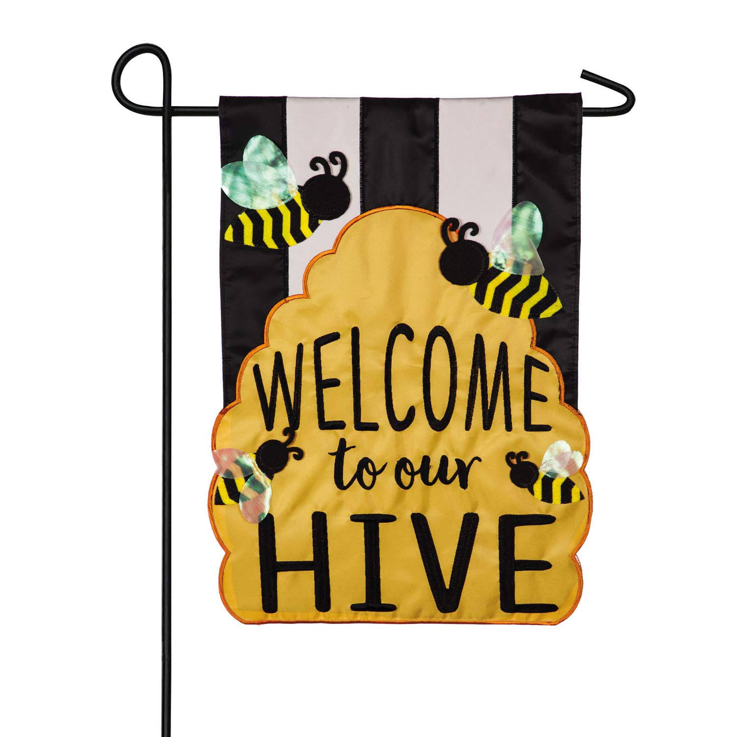 Evergreen Flags Welcome to Our Hive Applique Garden Flag