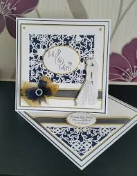 Viva Decor Inka Gold Pastels by Navy And Gold Twisted Easel Card Using The Tonic Studio