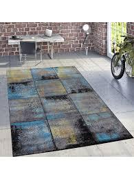 paco home designer teppich modern wohnzimmer ölgemälde abstrakt rost optik in blau gelb klingel
