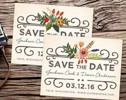 Woodland Vintage Save The Date Postcard Floral Country Rustic