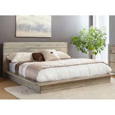 White Washed Modern Rustic California King Platform Bed