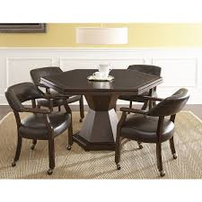 Montreal Brown Faux Leather And Wood 5 Piece Game Set By Greyson Living