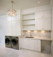laundry room with gray mini brick backsplash transitional