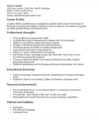 Resume Profile Template Sample For Fresh Graduate Accounting Marriage