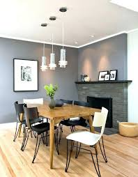 Accent Wallpaper Dining Room Gray Wall Grey Contemporary With Fireplace
