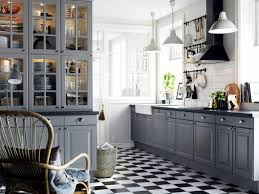 black and white floor tile pattern for country kitchen ideas with