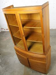 Vintage Mid Century Modern Mahogany Small China Hutch Cabinet