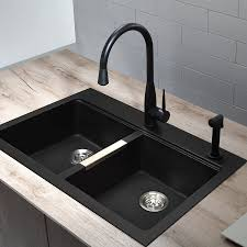 Kraus Sinks Kitchen Sink by Shop Kraus Kitchen Sink 22 In X 33 In Black Onyx Double Basin