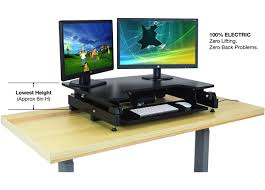 Dual Monitor Stand Up Desk by Electric Standing Desk Requires Zero Lifting Heavy Duty Sit To