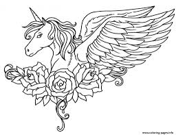 Coloring Pages Of Unicorns Print Ornate Winged Unicorn Flowers At