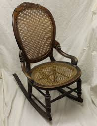 Victorian Walnut Sewing Rocker With Cane Seat And Back