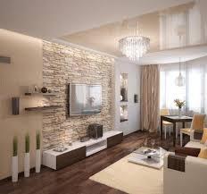 wohnzimmer modern einrichten beige warm natursteinwand wand