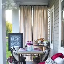 Outdoor Patio Curtains With Dining Table And Cream Color For