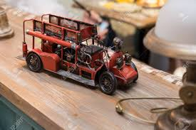 100 Antique Toy Fire Trucks Engine Interior Detail In A Cafe Stock Photo