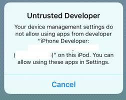 applications iOS Untrusted Developer error when testing app